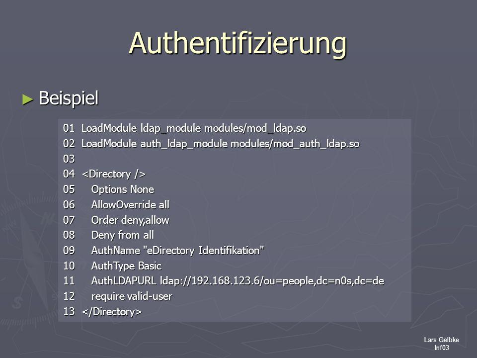 Lars Gelbke Inf03 Authentifizierung Beispiel Beispiel 01 LoadModule ldap_module modules/mod_ldap.so 02 LoadModule auth_ldap_module modules/mod_auth_ld