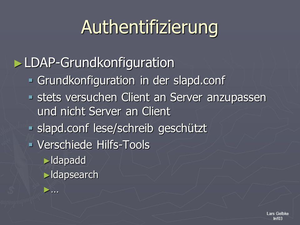 Lars Gelbke Inf03 Authentifizierung LDAP-Grundkonfiguration LDAP-Grundkonfiguration Grundkonfiguration in der slapd.conf Grundkonfiguration in der sla