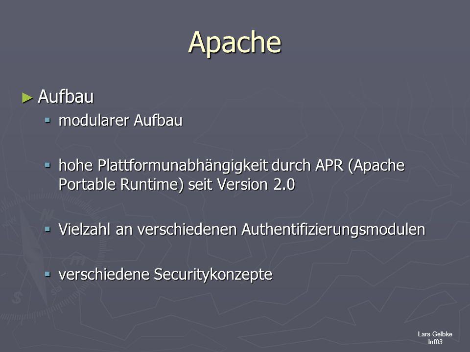 Lars Gelbke Inf03 Apache Aufbau Aufbau modularer Aufbau modularer Aufbau hohe Plattformunabhängigkeit durch APR (Apache Portable Runtime) seit Version