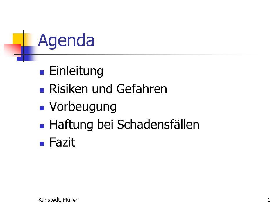 Karlstedt, Müller1 Agenda Einleitung Risiken und Gefahren Vorbeugung Haftung bei Schadensfällen Fazit