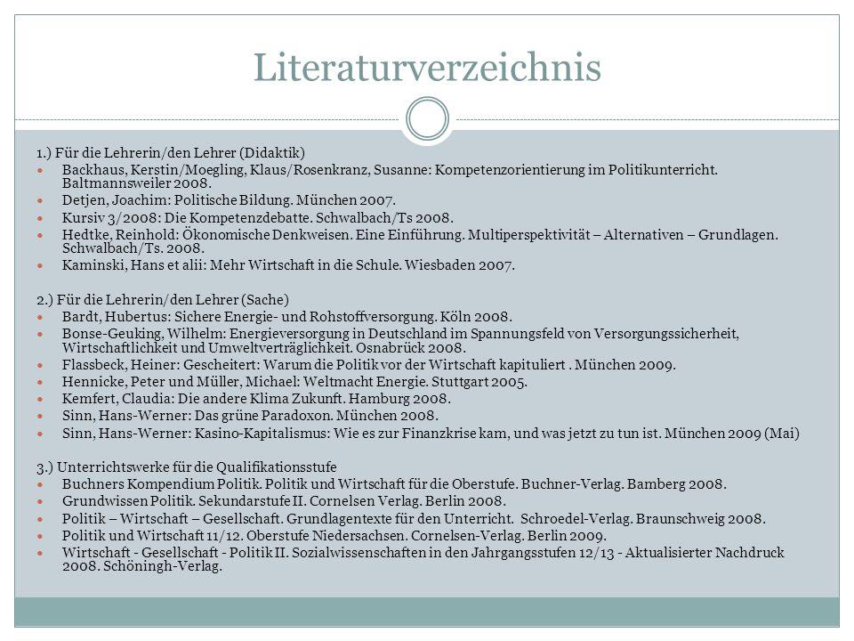 Literaturverzeichnis 1.) Für die Lehrerin/den Lehrer (Didaktik) Backhaus, Kerstin/Moegling, Klaus/Rosenkranz, Susanne: Kompetenzorientierung im Politi