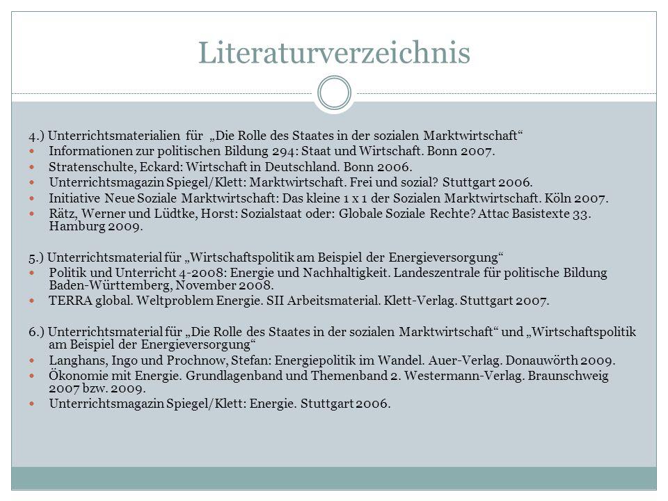 Literaturverzeichnis 4.) Unterrichtsmaterialien für Die Rolle des Staates in der sozialen Marktwirtschaft Informationen zur politischen Bildung 294: S