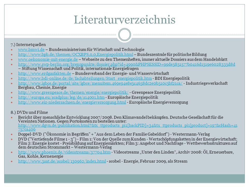 Literaturverzeichnis 7.) Internetquellen www.bmwi.de – Bundesministerium für Wirtschaft und Technologie www.bmwi.de http://www.bpb.de/themen/OCXBPS,0,