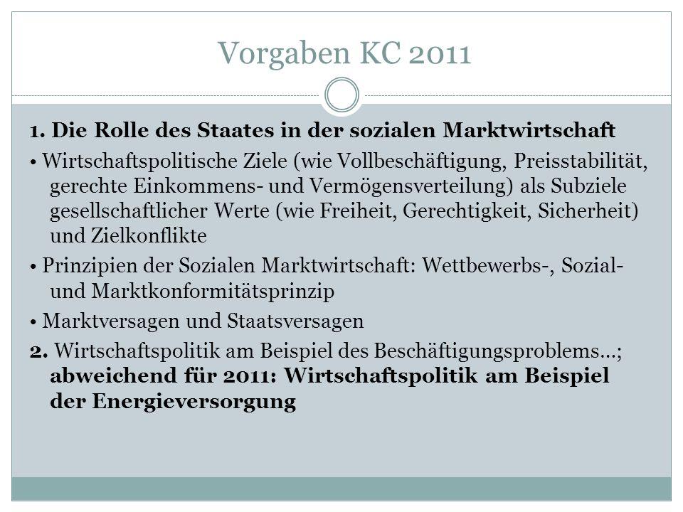 Vorgaben KC 2011 1. Die Rolle des Staates in der sozialen Marktwirtschaft Wirtschaftspolitische Ziele (wie Vollbeschäftigung, Preisstabilität, gerecht