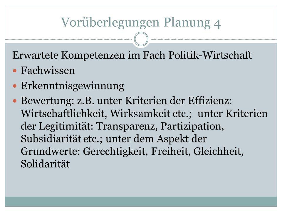 Vorüberlegungen Planung 4 Erwartete Kompetenzen im Fach Politik-Wirtschaft Fachwissen Erkenntnisgewinnung Bewertung: z.B. unter Kriterien der Effizien