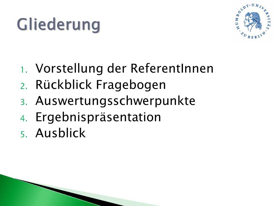 1. Vorstellung der ReferentInnen 2. Rückblick Fragebogen 3. Auswertungsschwerpunkte 4. Ergebnispräsentation 5. Ausblick