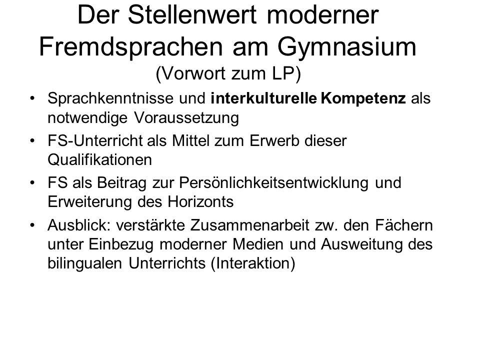 Der Stellenwert moderner Fremdsprachen am Gymnasium (Vorwort zum LP) Sprachkenntnisse und interkulturelle Kompetenz als notwendige Voraussetzung FS-Un