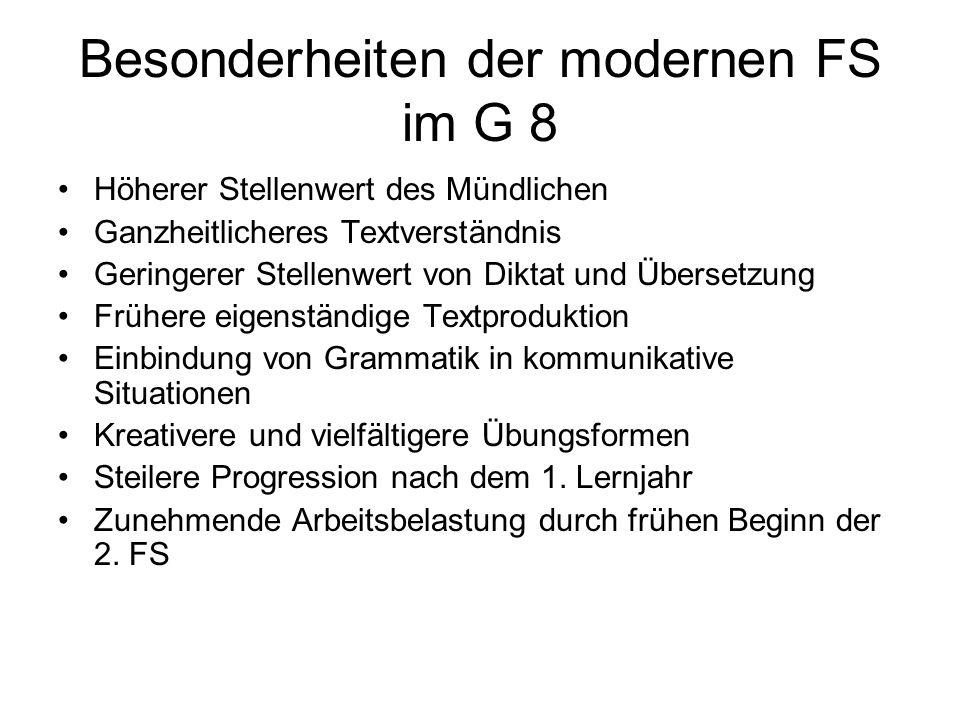 Besonderheiten der modernen FS im G 8 Höherer Stellenwert des Mündlichen Ganzheitlicheres Textverständnis Geringerer Stellenwert von Diktat und Überse