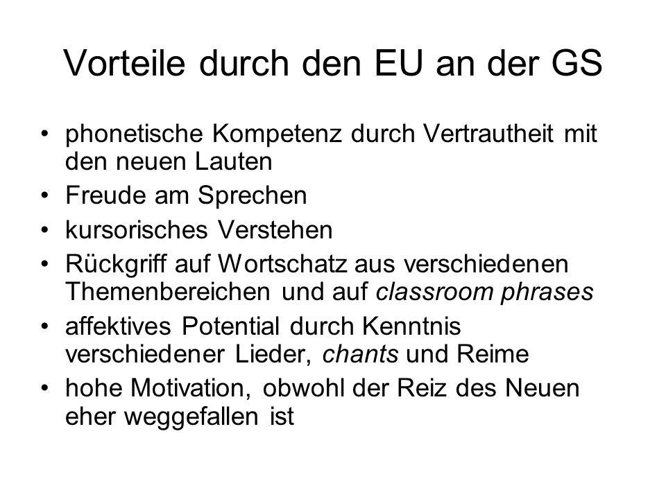 Vorteile durch den EU an der GS phonetische Kompetenz durch Vertrautheit mit den neuen Lauten Freude am Sprechen kursorisches Verstehen Rückgriff auf
