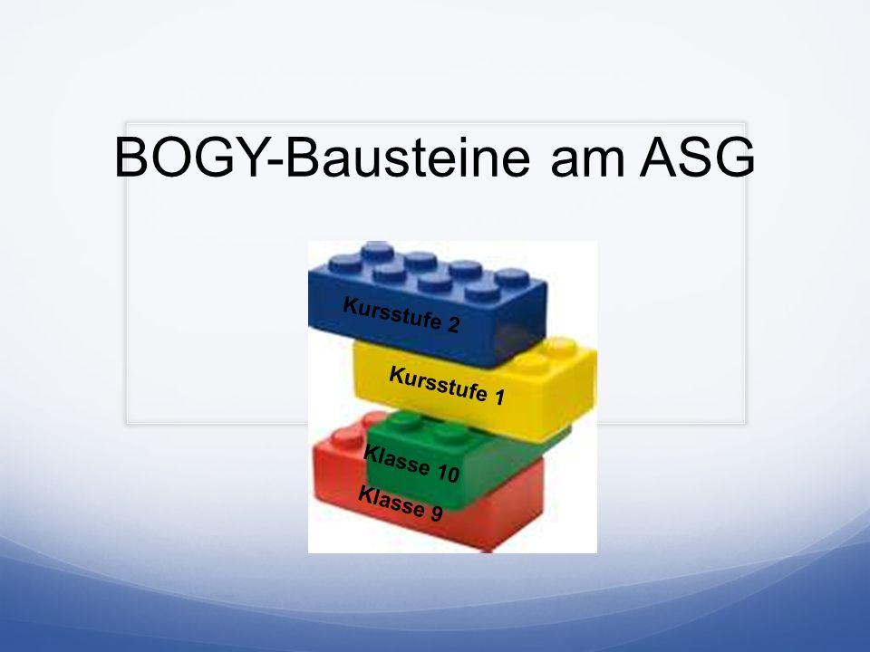 BOGY-Bausteine am ASG Kursstufe 2 Kursstufe 1 Klasse 10 Klasse 9
