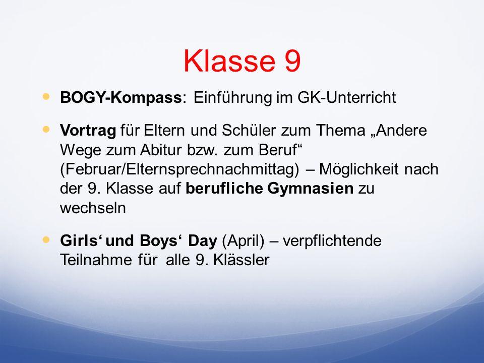 BOGY-Kompass: Einführung im GK-Unterricht Vortrag für Eltern und Schüler zum Thema Andere Wege zum Abitur bzw.