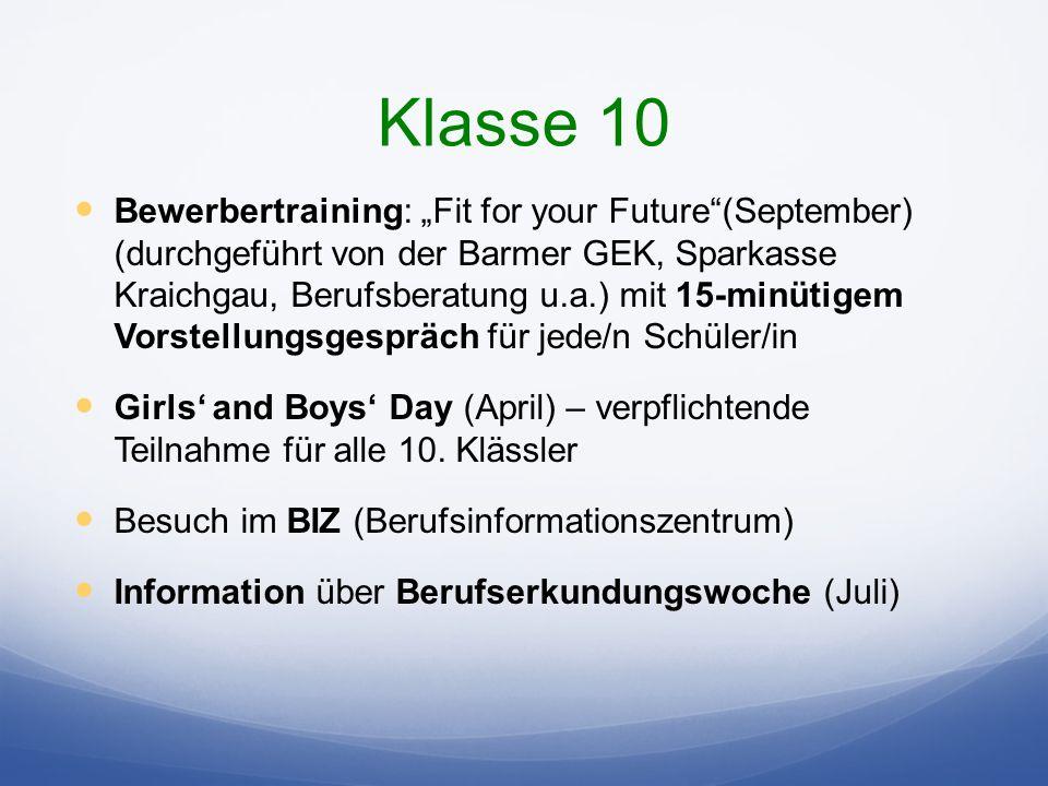 Klasse 10 Bewerbertraining: Fit for your Future(September) (durchgeführt von der Barmer GEK, Sparkasse Kraichgau, Berufsberatung u.a.) mit 15-minütigem Vorstellungsgespräch für jede/n Schüler/in Girls and Boys Day (April) – verpflichtende Teilnahme für alle 10.