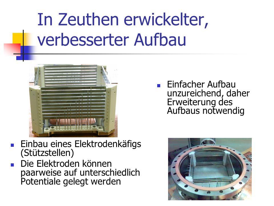 In Zeuthen erwickelter, verbesserter Aufbau Einbau eines Elektrodenkäfigs (Stützstellen) Die Elektroden können paarweise auf unterschiedlich Potentiale gelegt werden Einfacher Aufbau unzureichend, daher Erweiterung des Aufbaus notwendig