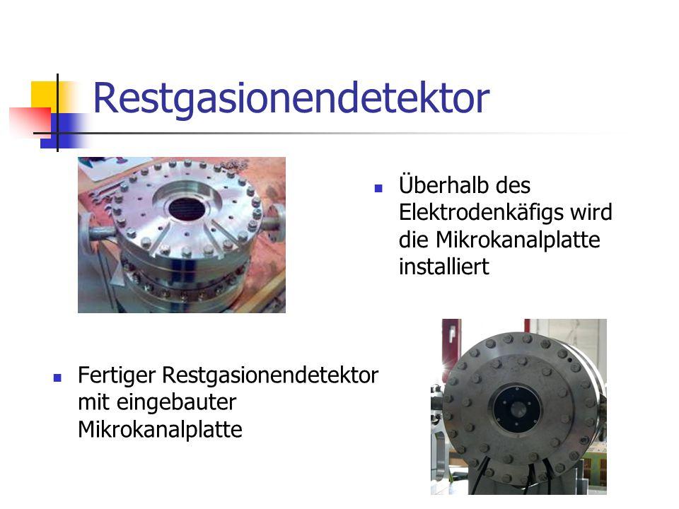 Restgasionendetektor Fertiger Restgasionendetektor mit eingebauter Mikrokanalplatte Überhalb des Elektrodenkäfigs wird die Mikrokanalplatte installiert