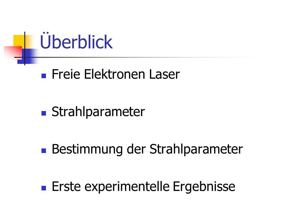 Überblick Freie Elektronen Laser Strahlparameter Bestimmung der Strahlparameter Erste experimentelle Ergebnisse