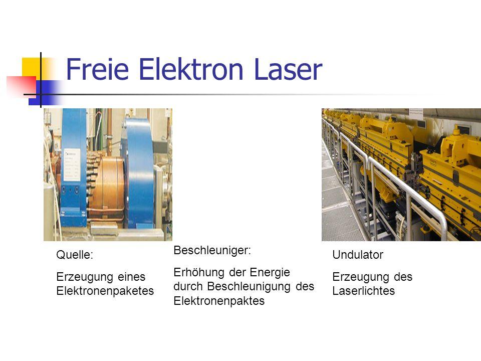 Freie Elektron Laser Quelle: Erzeugung eines Elektronenpaketes Beschleuniger: Erhöhung der Energie durch Beschleunigung des Elektronenpaktes Undulator