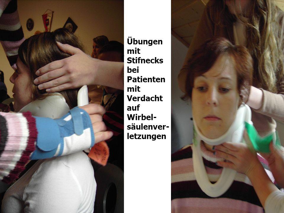 Übungen mit Stifnecks bei Patienten mit Verdacht auf Wirbel- säulenver- letzungen Stifneck