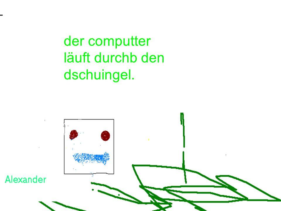 der elefant holt den computer vom flughafen ab.