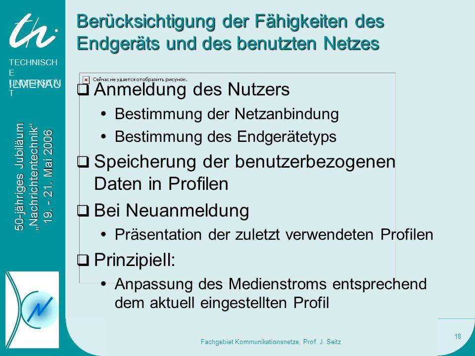 TECHNISCH E UNIVERSITÄ T ILMENAU 50-jähriges Jubiläum Nachrichtentechnik 19. - 21. Mai 2006 Fachgebiet Kommunikationsnetze, Prof. J. Seitz 18 Berücksi