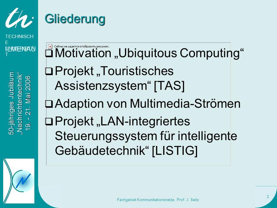 TECHNISCH E UNIVERSITÄ T ILMENAU 50-jähriges Jubiläum Nachrichtentechnik 19. - 21. Mai 2006 Fachgebiet Kommunikationsnetze, Prof. J. Seitz 2 Gliederun