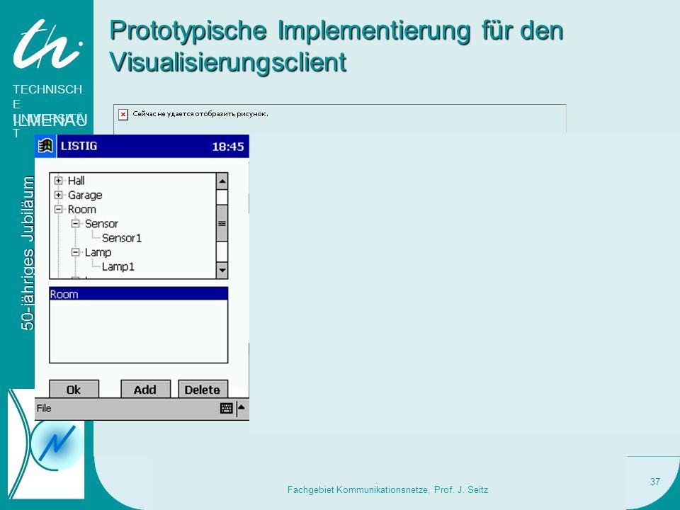 TECHNISCH E UNIVERSITÄ T ILMENAU 50-jähriges Jubiläum Nachrichtentechnik 19. - 21. Mai 2006 Fachgebiet Kommunikationsnetze, Prof. J. Seitz 37 Prototyp