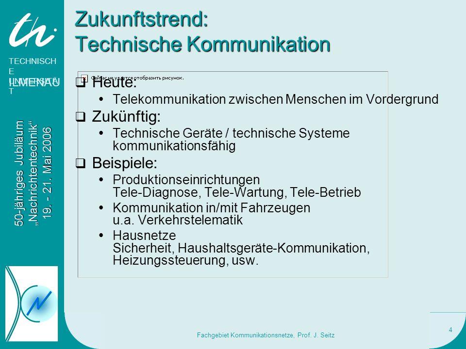 TECHNISCH E UNIVERSITÄ T ILMENAU 50-jähriges Jubiläum Nachrichtentechnik 19. - 21. Mai 2006 Fachgebiet Kommunikationsnetze, Prof. J. Seitz 4 Zukunftst
