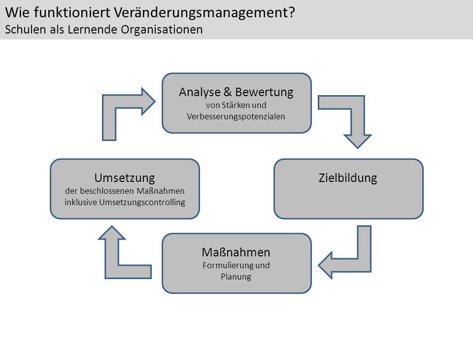 Analyse & Bewertung von Stärken und Verbesserungspotenzialen Maßnahmen Formulierung und Planung Umsetzung der beschlossenen Maßnahmen inklusive Umsetz
