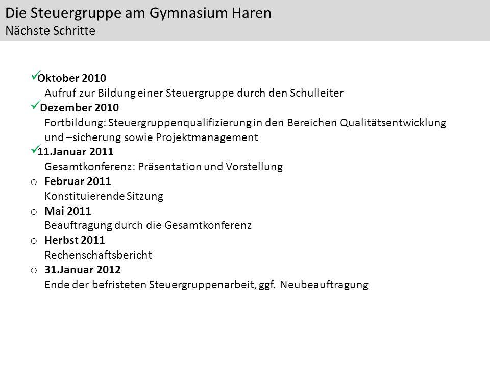 Die Steuergruppe am Gymnasium Haren Nächste Schritte Oktober 2010 Aufruf zur Bildung einer Steuergruppe durch den Schulleiter Dezember 2010 Fortbildun