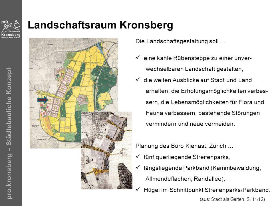 pro.kronsberg – Städtebauliche Konzept Landschaftsraum Kronsberg Die Landschaftsgestaltung soll … eine kahle Rübensteppe zu einer unver- wechselbaren