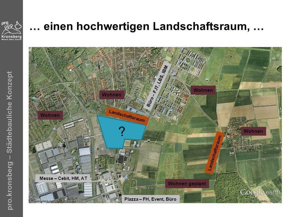 pro.kronsberg – Städtebauliche Konzept … einen hochwertigen Landschaftsraum, … ? Wohnen Wohnen geplant Wohnen Messe – Cebit, HM, AT Plazza – FH, Event