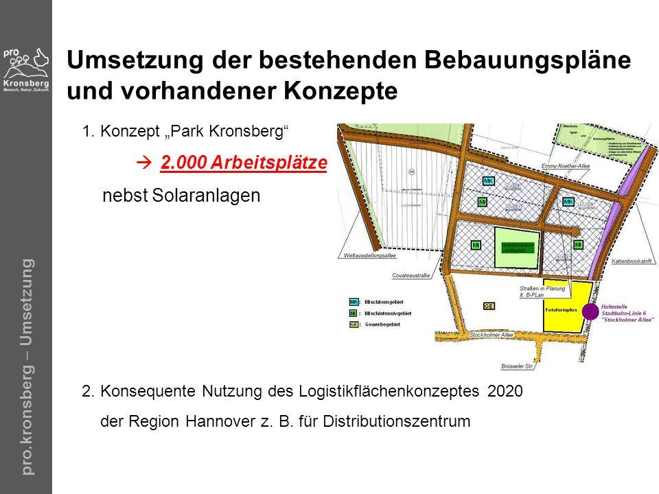 pro.kronsberg – Umsetzung Umsetzung der bestehenden Bebauungspläne und vorhandener Konzepte 1. Konzept Park Kronsberg 2.000 Arbeitsplätze nebst Solara