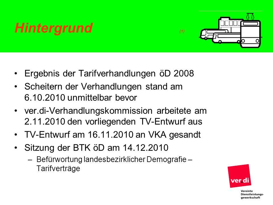 Hintergrund (1) Ergebnis der Tarifverhandlungen öD 2008 Scheitern der Verhandlungen stand am 6.10.2010 unmittelbar bevor ver.di-Verhandlungskommission