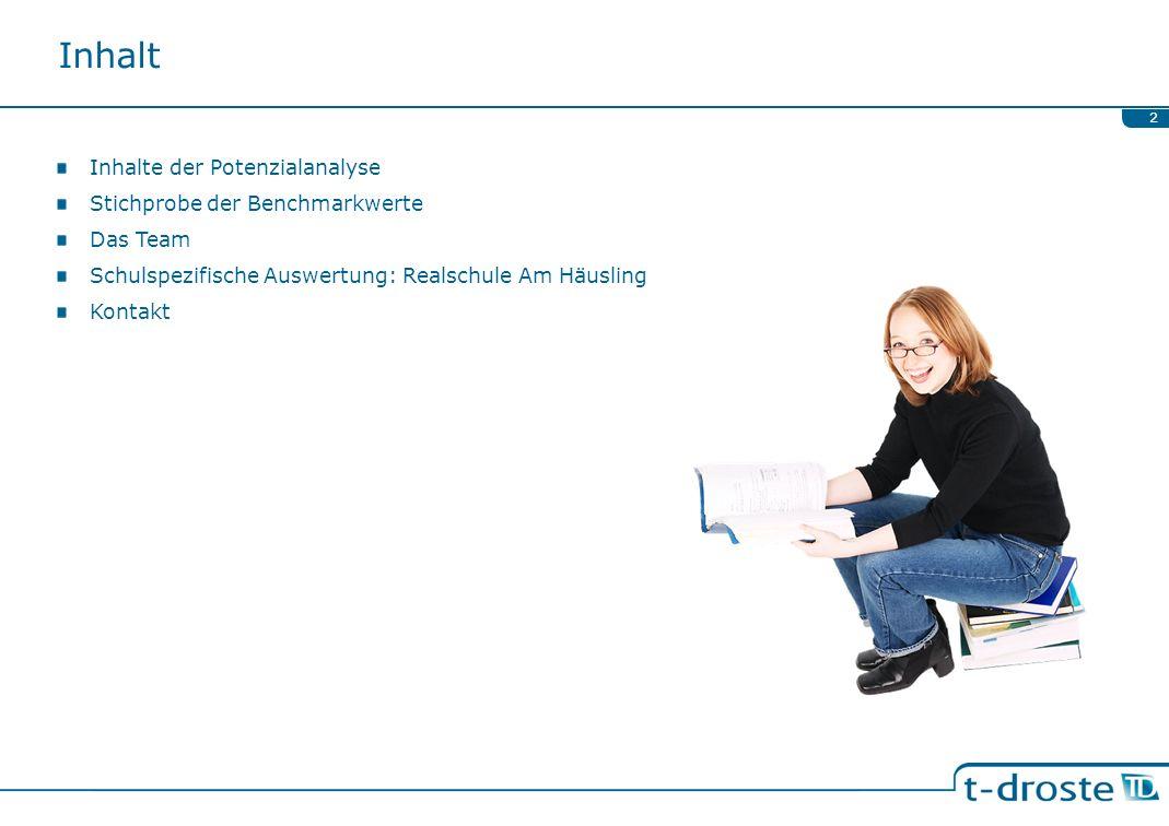 Inhalt Inhalte der Potenzialanalyse Stichprobe der Benchmarkwerte Das Team Schulspezifische Auswertung: Realschule Am Häusling Kontakt 2