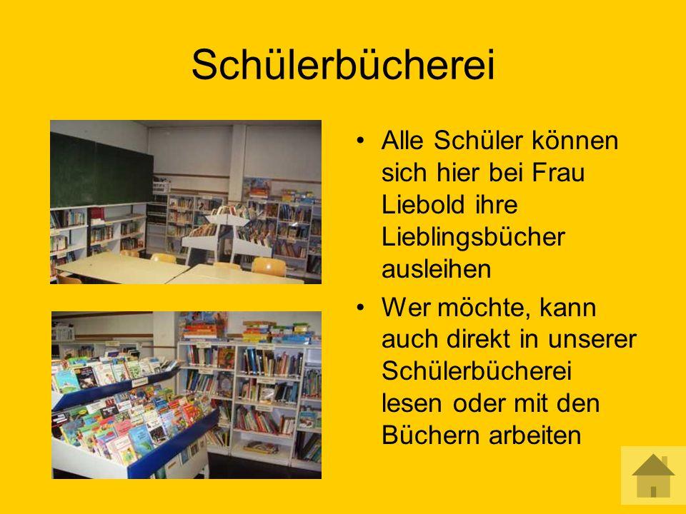 Schülerbücherei Alle Schüler können sich hier bei Frau Liebold ihre Lieblingsbücher ausleihen Wer möchte, kann auch direkt in unserer Schülerbücherei lesen oder mit den Büchern arbeiten