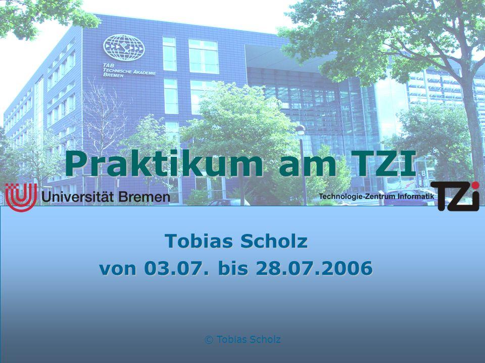 © Tobias Scholz Praktikum am TZI Tobias Scholz von 03.07. bis 28.07.2006