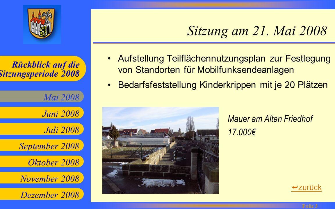Juni 2008 Juli 2008 September 2008 Oktober 2008 Mai 2008 Rückblick auf die Sitzungsperiode 2008 Folie 4 November 2008 Dezember 2008 Sitzung am 18.
