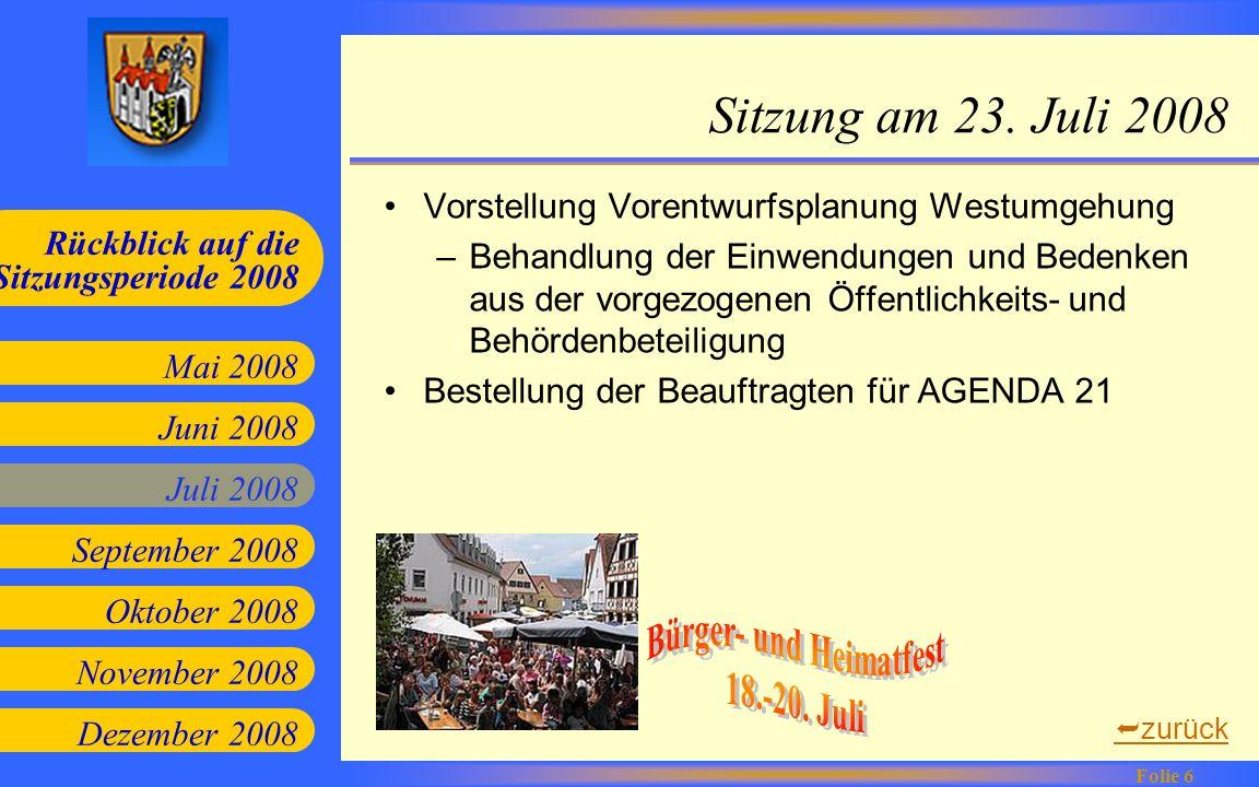 Juni 2008 Juli 2008 September 2008 Oktober 2008 Mai 2008 Rückblick auf die Sitzungsperiode 2008 Folie 6 November 2008 Dezember 2008 Sitzung am 23. Jul