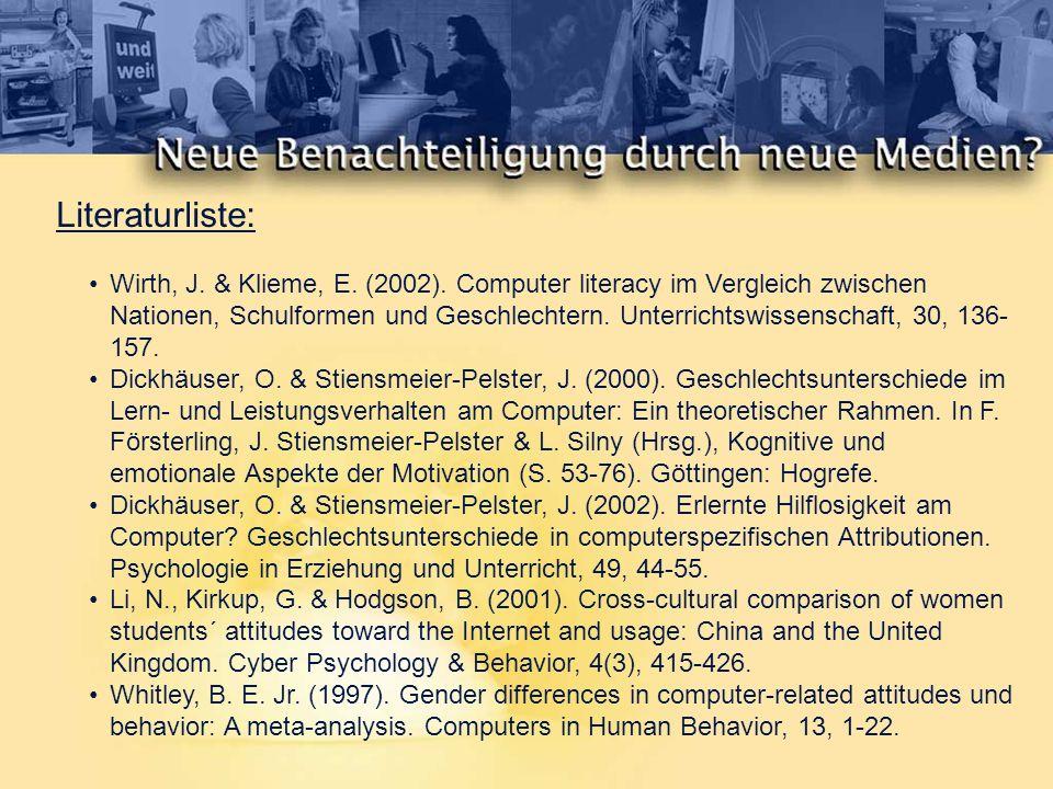 INCOBI = Inventar zur Computerbildung (Tobias Richter, Johannes Naumann und Norbert Groeben, 1999) Erfassung von Computer Literacy und computerbezogenen Einstellungen