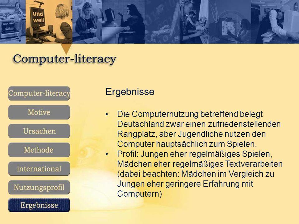 Ergebnisse Die Computernutzung betreffend belegt Deutschland zwar einen zufriedenstellenden Rangplatz, aber Jugendliche nutzen den Computer hauptsächlich zum Spielen.
