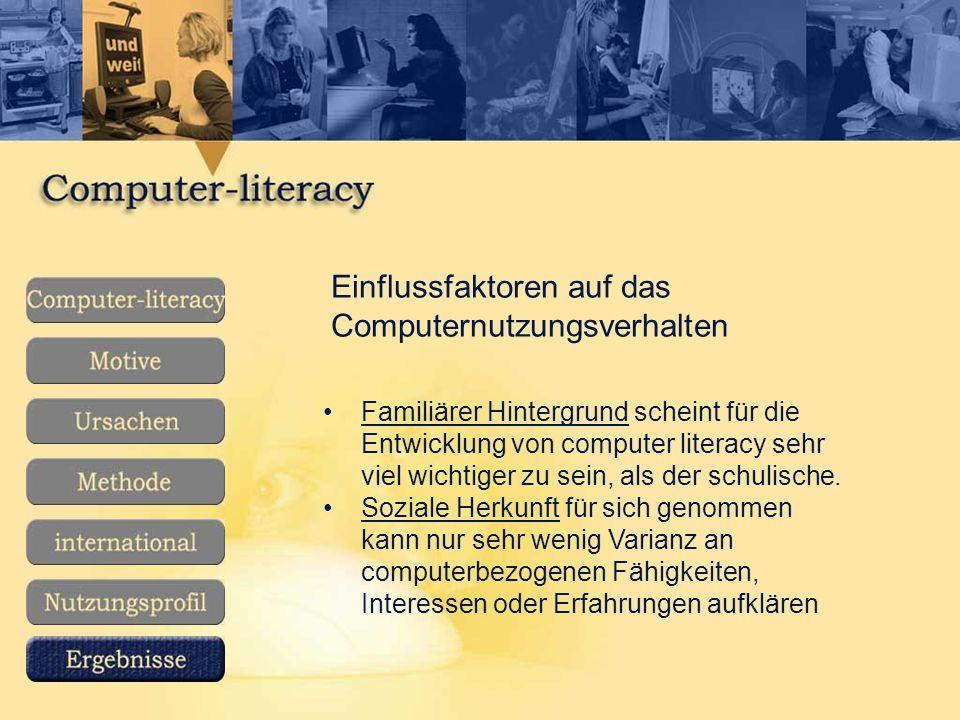 Einflussfaktoren auf das Computernutzungsverhalten Familiärer Hintergrund scheint für die Entwicklung von computer literacy sehr viel wichtiger zu sein, als der schulische.