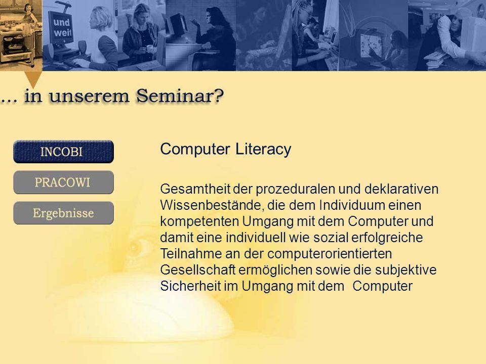 Computer Literacy Gesamtheit der prozeduralen und deklarativen Wissenbestände, die dem Individuum einen kompetenten Umgang mit dem Computer und damit eine individuell wie sozial erfolgreiche Teilnahme an der computerorientierten Gesellschaft ermöglichen sowie die subjektive Sicherheit im Umgang mit dem Computer