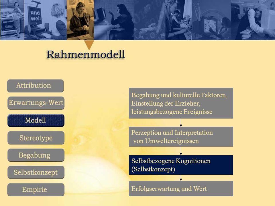 Erfolgserwartung und Wert Selbstbezogene Kognitionen (Selbstkonzept) Perzeption und Interpretation von Umweltereignissen Begabung und kulturelle Faktoren, Einstellung der Erzieher, leistungsbezogene Ereignisse