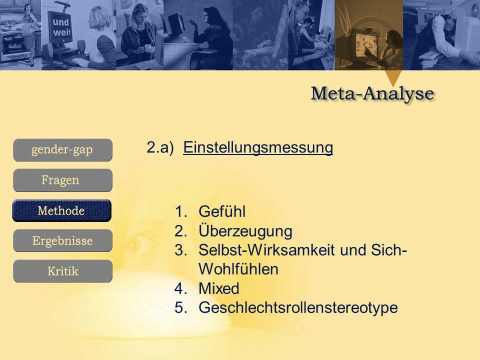 2.a) Einstellungsmessung 1.Gefühl 2.Überzeugung 3.Selbst-Wirksamkeit und Sich- Wohlfühlen 4.Mixed 5.Geschlechtsrollenstereotype