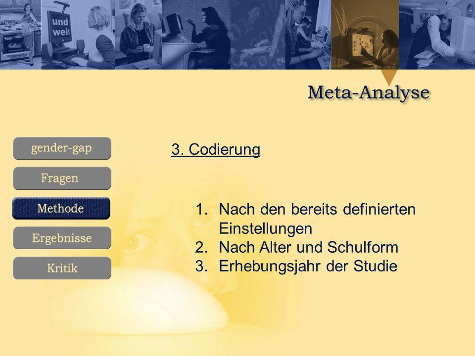3. Codierung 1.Nach den bereits definierten Einstellungen 2.Nach Alter und Schulform 3.Erhebungsjahr der Studie
