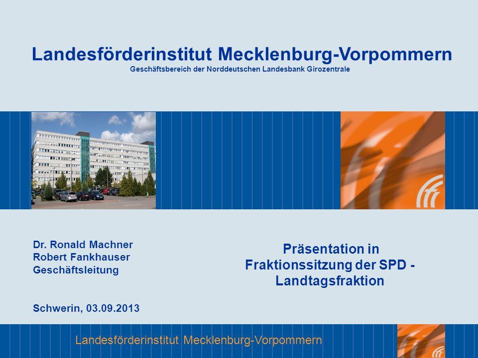Landesförderinstitut Mecklenburg-Vorpommern Das LFI Förderergebnisse Bewilligte Zuwendungen in den Programmen: - Städtebauförderung, - Stadtumbau Ost (Rückbau) - Nachhaltige Stadtentwicklung (2007 bis Apr.