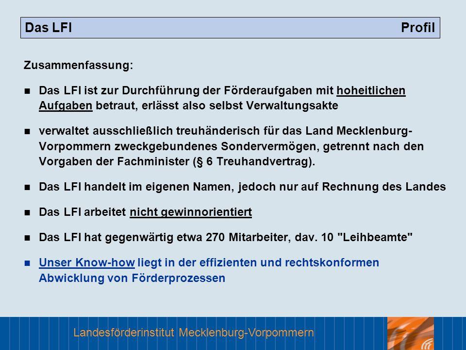 Landesförderinstitut Mecklenburg-Vorpommern Das LFI Profil Zusammenfassung: Das LFI ist zur Durchführung der Förderaufgaben mit hoheitlichen Aufgaben