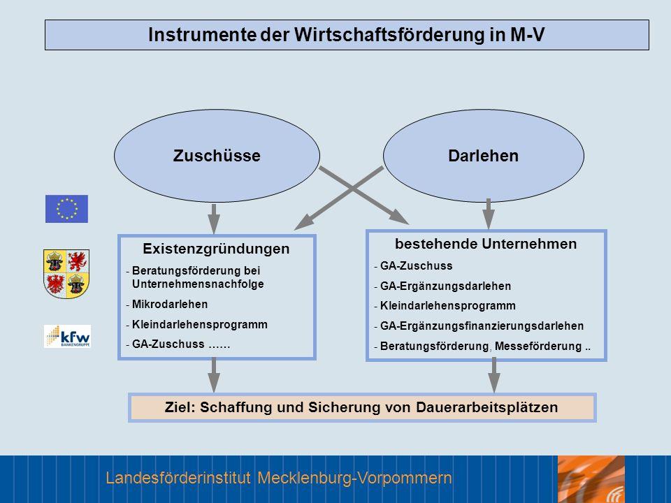 Landesförderinstitut Mecklenburg-Vorpommern Instrumente der Wirtschaftsförderung in M-V Existenzgründungen - Beratungsförderung bei Unternehmensnachfo