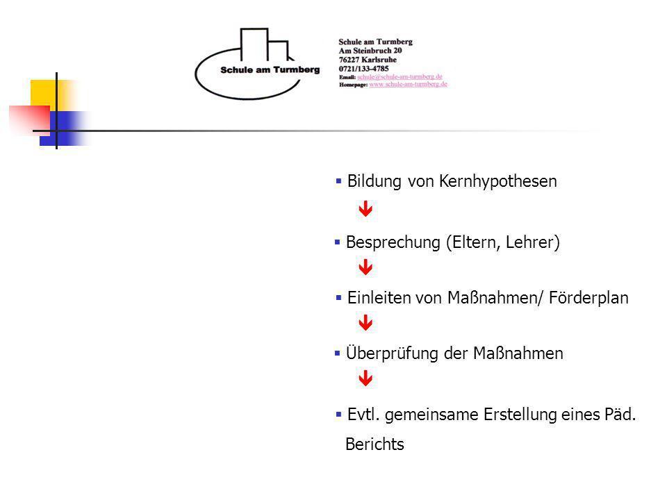 Bildung von Kernhypothesen Einleiten von Maßnahmen/ Förderplan Überprüfung der Maßnahmen Besprechung (Eltern, Lehrer) Evtl. gemeinsame Erstellung eine