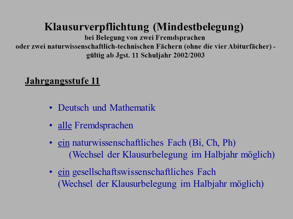 Schriftlichkeit 11/I11/II12/II12/I13/I13/II Deutsch Fremdsprache Gesellschaftswissenschaft Mathematik Naturwissenschaft Neueinsetzende Fremdsprache Ab