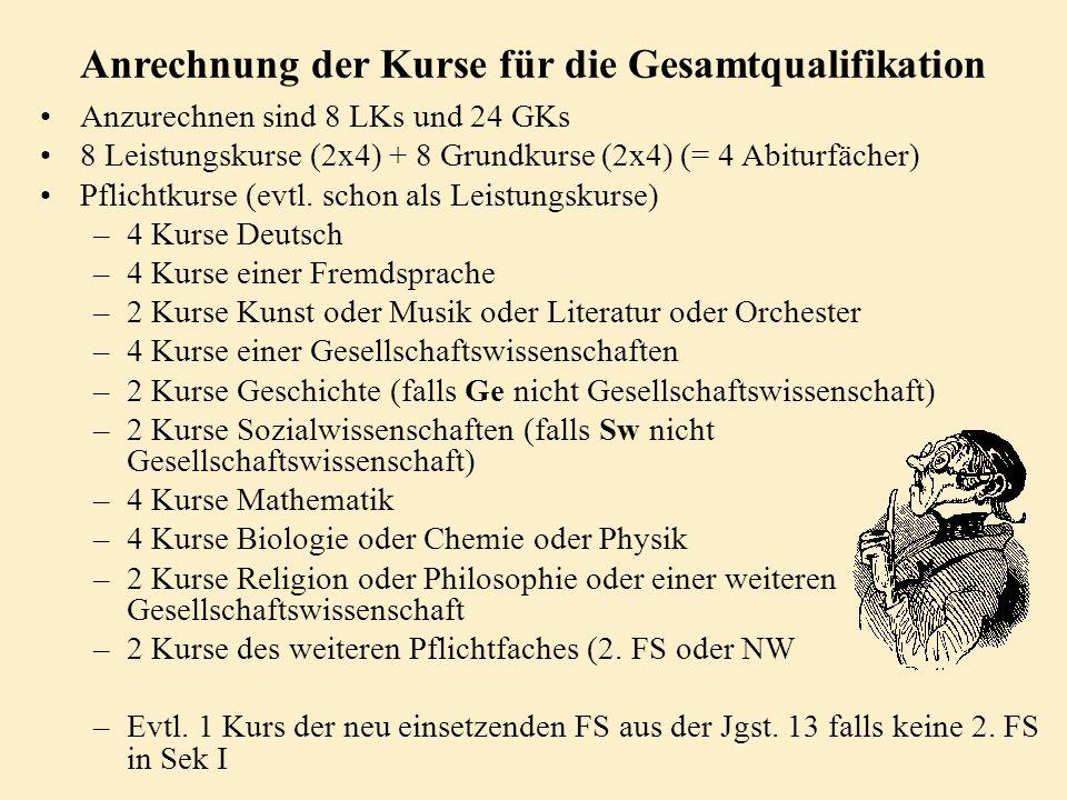 Jahrgangsstufe 13/II die in der Sekundarstufe II neu einsetzende Fremdsprache 1. bis 3. Abiturfach Abiturfächer 1. - 3. Fach: Jgst. 12/I - 13/II 4. Fa
